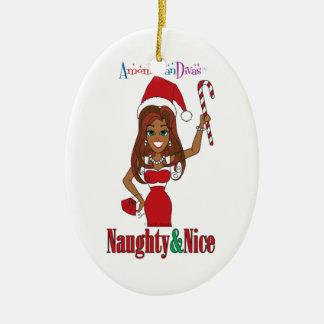 Santa Naughty & Nice Diva Christmas Ornament