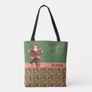 Santa Naughty or Nice Custom Name Tote Bag