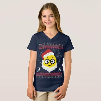 Santa Nerd Eyes Smile Emoji Ugly Christmas T-Shirt
