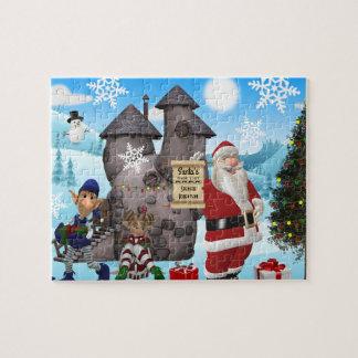 Santa North Pole Personalized w/Child's Name Jigsaw Puzzle