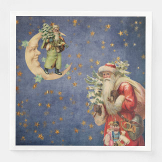 Santa on a Crescent Moon Disposable Serviettes