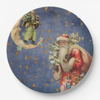 Santa on a Crescent Moon Paper Plate