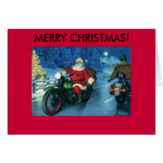 Santa on a motorcycle christmas card