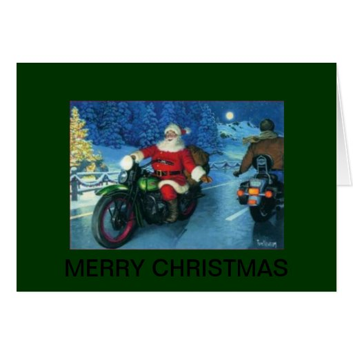 santa on a motorcycle christmas card
