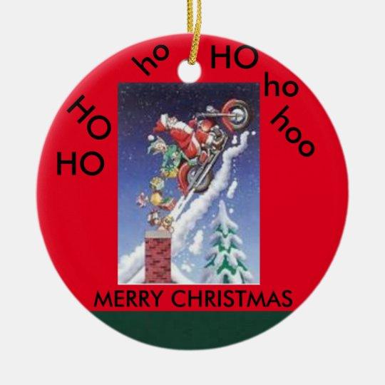 Santa on a motorcycle christmas circle ornament