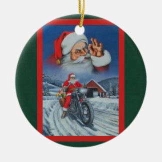 Santa on a motorcycle loaded with Christmas gifts Christmas Ornament