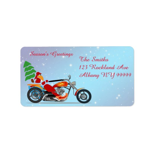 Santa on a motorcycle with tree address label