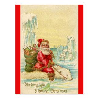 Santa on a Polar Bear Postcard