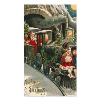 """Santa on a Train"" Vintage Gift Tag Business Card"