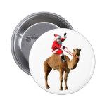 Santa On Camel Christmas 6 Cm Round Badge