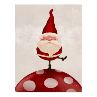 Santa on fungus postcard