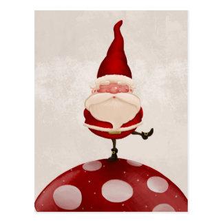 Santa on fungus postcard