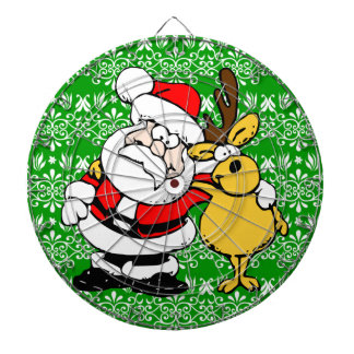 Santa on Green Background Dartboard