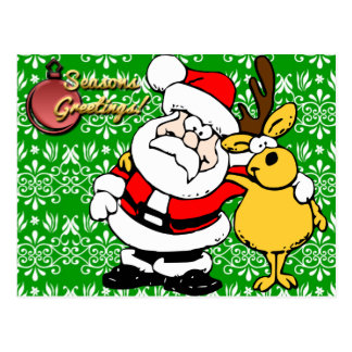 Santa on Green Background Postcard