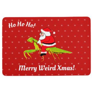 Santa On Praying Mantis Christmas Floor Mat