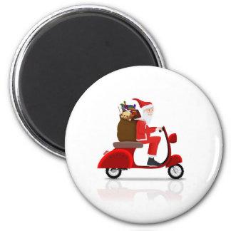 Santa on Scooter Refrigerator Magnet