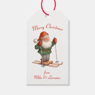 Santa on Skis Merry Christmas Gift Tags