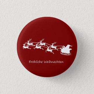 Santa On Sleigh Fröhliche Weihnachten 3 Cm Round Badge