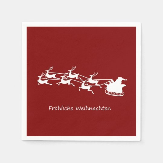 Santa On Sleigh Fröhliche Weihnachten Disposable Napkin