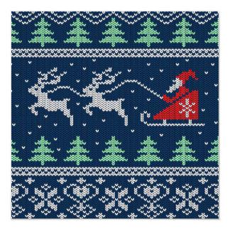 Santa On Sleigh Knitted Pattern 13 Cm X 13 Cm Square Invitation Card