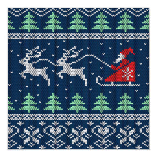 Santa On Sleigh Knitted Pattern Card