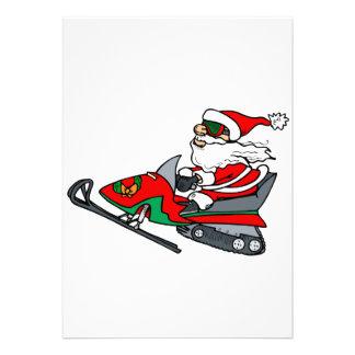 santa on snowmobile custom invitations