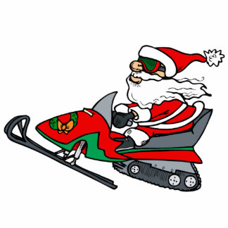 santa on snowmobile standing photo sculpture