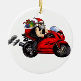 santa on sportbike delivering presents ornament