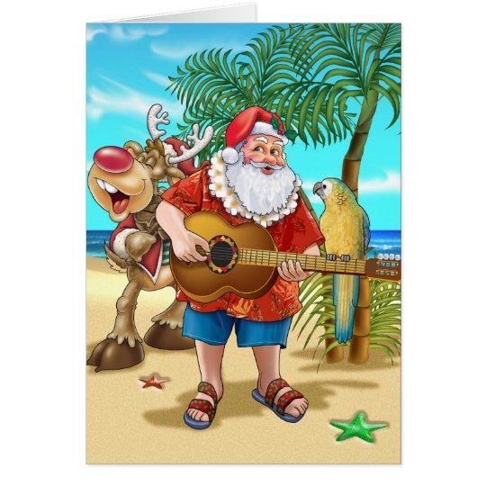 Santa on the beach card