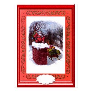 Santa on the chimney postcard