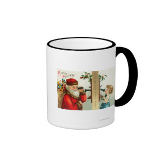 Santa on the Phone with Little Girl Mugs