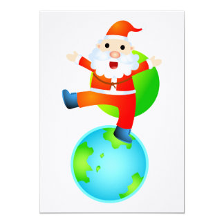 Santa On Top Of The World 13 Cm X 18 Cm Invitation Card