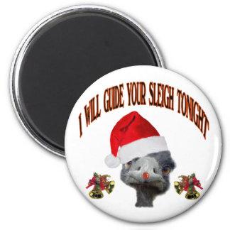 Santa ostritch 6 cm round magnet