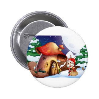 Santa outside the mushroom house 6 cm round badge