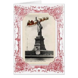Santa Over New York American Christmas Card