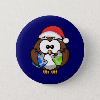 Santa owl 6 cm round badge
