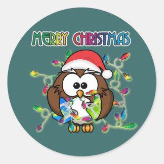 Santa owl & Christmas lights Round Sticker