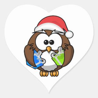 Santa Owl Holding Presents Heart Stickers