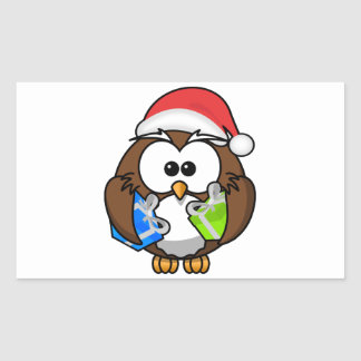 Santa Owl Holding Presents Rectangle Sticker