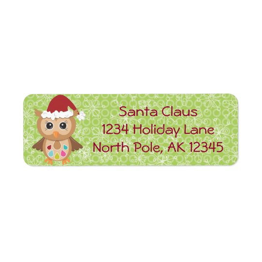 Santa Owl Return Address Label