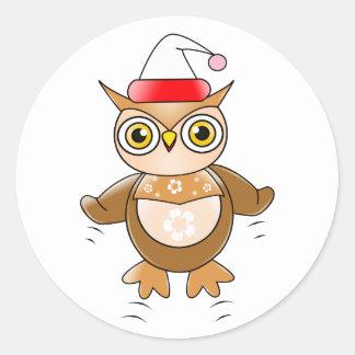 Santa Owl Round Sticker