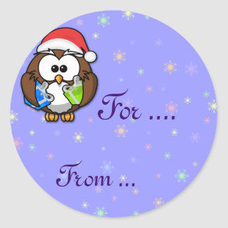 Santa owl stickers