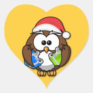 Santa owl heart stickers