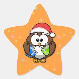 Santa owl star sticker