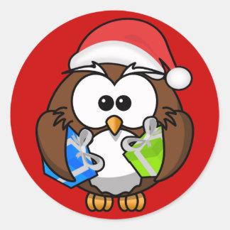 Santa Owl Round Stickers