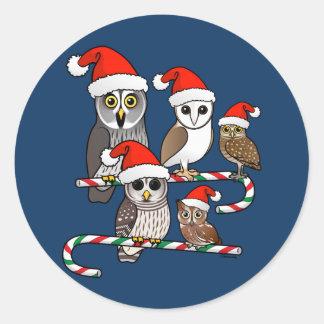 Santa Owls Stickers