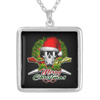 Santa Pastry Chef Skull: Merry Christmas Square Pendant Necklace