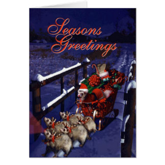 Santa Paws and his Ferret Reindeer Friends Greeting Card