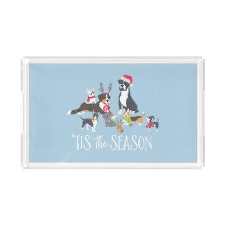 """Santa Paws"" Dog-Themed Christmas Acrylic Tray"