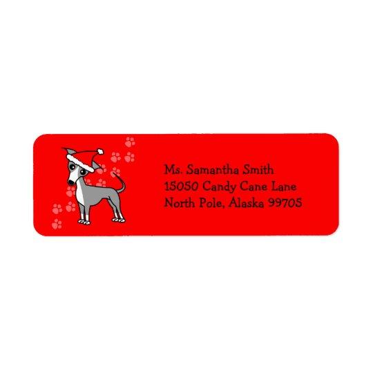 Santa Paws Italian Greyhound  Return Address Label